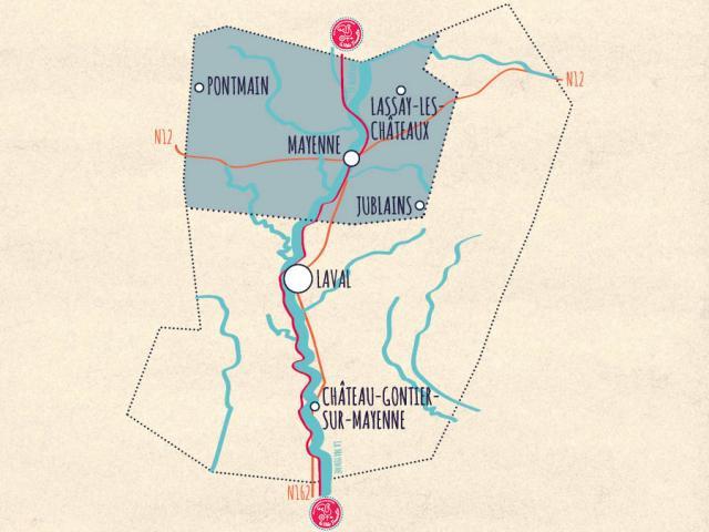 Carte de la Mayenne - Vallée de Haute Mayenne